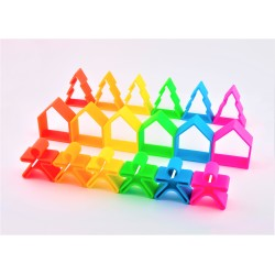 Kit de juguetes de silicona (6 muñecos + 6 casas + 6 árboles)