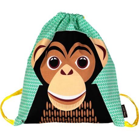 Mochila de cordones verde Chimpancé