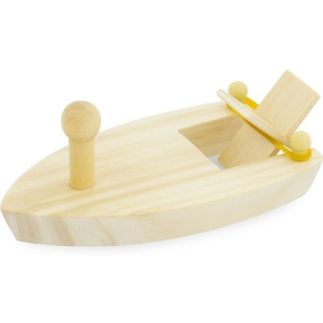Barco de madera motorizado por una goma elástica
