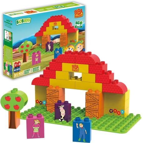 Bloques de construcción eco-friendlies Biba en el establo (31 piezas)