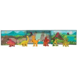 Tribu de dinosaurios con escenario
