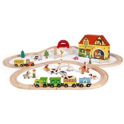 Granja y tren de madera