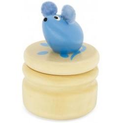 Caja de madera para guardar los dientes del Ratoncito Pérez azul