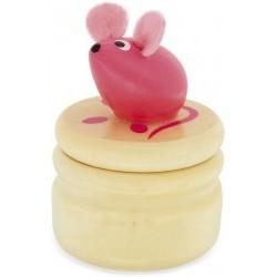 Caja de madera para guardar los dientes del Ratoncito Pérez rosa