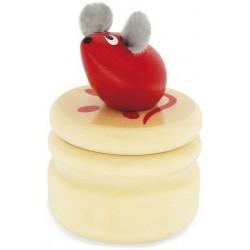 Caja de madera para guardar los dientes del Ratoncito Pérez rojo