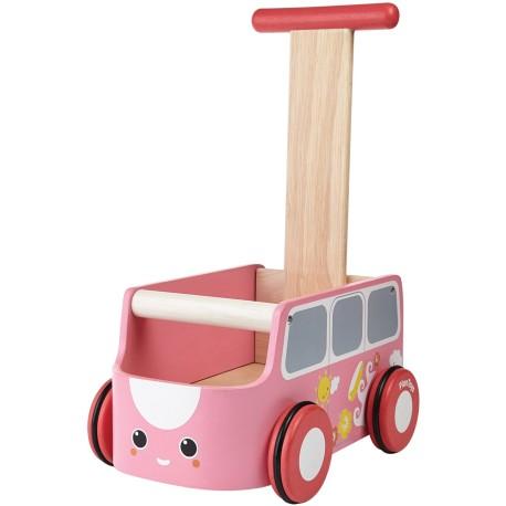 Andador furgoneta rosa de madera