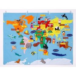 Mapamundi de tela gigante de 67 piezas 90x120cm