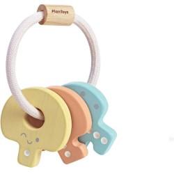 Sonajero de llaves de madera en colores pastel