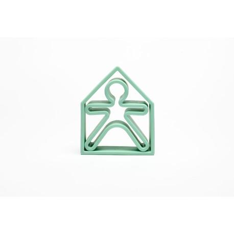 Kit de juguetes de silicona (muñeco + casa) de color verde pastel