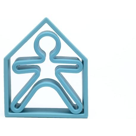 Kit de juguetes de silicona (muñeco + casa) de color azul pastel