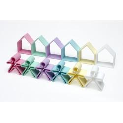 Kit de juguetes de silicona (6 muñecos + 6 casas) de colores pastel