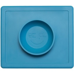 Vajilla infantil de silicona The Happy Bowl azul
